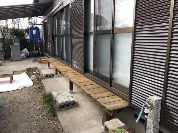 木部の灰汁洗い、濡れ縁施工